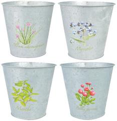 ESSCHERT DESIGN Obal na květináč botanika 16 cm, pozink, balení obsahuje 4 kusy!