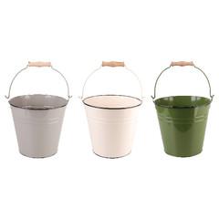 ESSCHERT DESIGN Kyblík kovový, šedá, bílá, zelená, 26x25x23 cm, balení obsahuje 3 kusy!