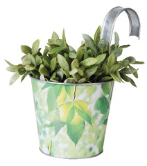 ESSCHERT DESIGN Květináč plechový závěsný - potisk listy