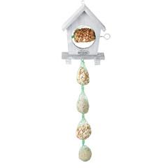 """ESSCHERT DESIGN Krmítko pro ptáčky """"BEST FOR BIRDS"""" s háčkem a jehlicí, 16 x 5,5 x 22 cm, dřevěné, v přírodním provedení (světlá hnědá)"""