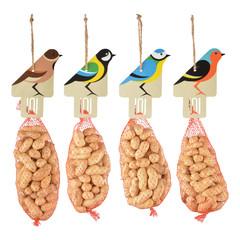"""ESSCHERT DESIGN Krmítko pro ptáky """"BEST FOR BIRDS"""" závěsné s oříšky, balení obsahuje 4 kusy!"""