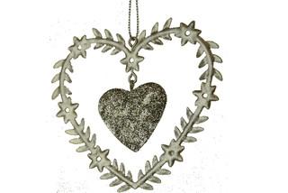 EGO DEKOR Ozdoba srdce stříbrné s vloženým srdcem 15,5 cm