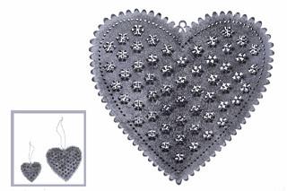 EGO DEKOR Srdce šedé, 14,5 cm
