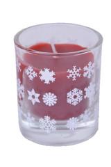 EGO DEKOR Svícen se svíčkou ve skle VLOČKY, červená s bílou, 5 x 6 cm