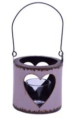EGO DEKOR Lucerna se srdcem, hnědá, 27 x 27 x 12,5 cm