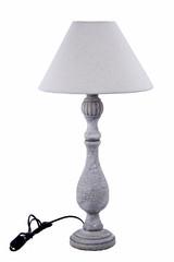 EGO DEKOR Lampa soustružená, šedý širm, 33 x 33 x 66 cm