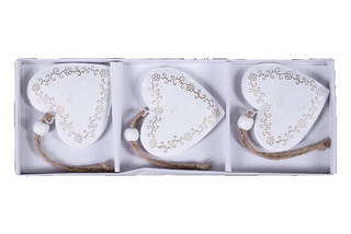 EGO DEKOR Ozdoba srdce zdobené, 1,5 x 21 x 7,5 cm, box 3ks