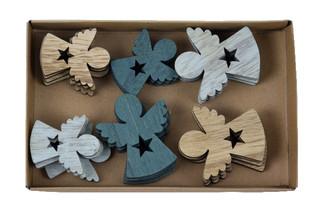 EGO DEKOR Přízdoba anděl, set 24ks, 16 x 2,5 x 10 cm, hnědá, bílá, námořnická