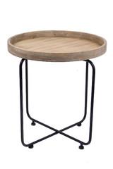 EGO DEKOR Stolek odkládací s dřevěnou deskou, kruhový, průměr 60 x 65 cm