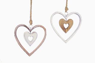 EGO DEKOR Závěs srdce dřevěné, 2 x 9 x 9 cm