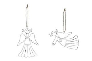 EGO DEKOR Závěs anděl s culíky, bílá, balení obsahuje 2 kusy! 15,5 x 15 x 0,1 cm