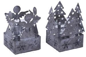 EGO DEKOR Anděl/Stromek svícen na svíčku, šedý, balení obsahuje 2 kusy! 7,5 x 10,5 x 7,5 cm