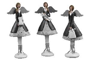 EGO DEKOR Andělka s kolovou sukní, stříbrná, 5,5 x 9,5 x 24,5 cm, balení obsahuje 3 kusy!