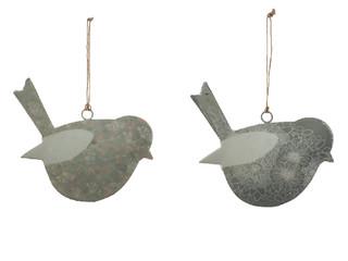 EGO DEKOR Závěs ''Pták'', tm. šedá/šedá, V, balení obsahuje 2 kusy!