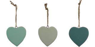 EGO DEKOR Závěs ''Srdce'', tyrkysová/mátová/aqua, balení obsahuje 3 kusy!