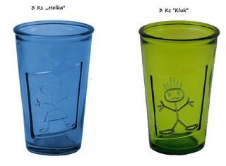 "EGO DEKOR Sklenice ""HOLKA""-""KLUK"" 0,3 L MIX 6 ks (3 ks v modré barvě, 3 ks v zelené barvě)"