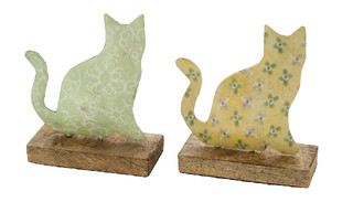 EGO DEKOR Dekorace ''Kočička'', žlutá/zelená, V, balení obsahuje 2 kusy!