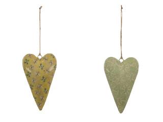 EGO DEKOR Závěs ''Srdce'', žlutá/zelená, M, balení obsahuje 2 kusy!
