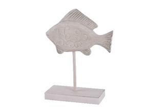 EGO DEKOR Stojánek ryba bílá patina