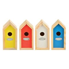 """ESSCHERT DESIGN Budka """"BEST FOR BIRDS"""" se střízlíkem, různé barvy, balení obsahuje 4 kusy!"""