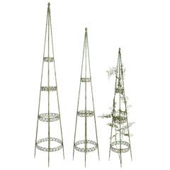 """ESSCHERT DESIGN Opory ke květinám """"INDUSTRIAL HERITAGE"""", zelená patina, 1,20 m, 1,40 m a 1,70 m, set 3ks"""