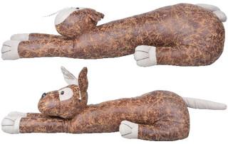 ESSCHERT DESIGN Zarážka dveřní kočka, pes, kožená, balení obsahuje 2 kusy! Hnědá, 16 cm