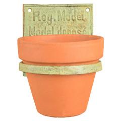 """ESSCHERT DESIGN Držák na květináč na zeď """"INDUSTRIAL HERITAGE"""", zelená patina, 15 cm"""