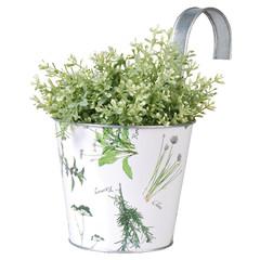 ESSCHERT DESIGN Květináč plechový závěsný - potisk bylinky