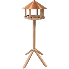 """ESSCHERT DESIGN Budka pro ptáčky """"BEST FOR BIRDS"""" na noze - dub, měděná střecha"""