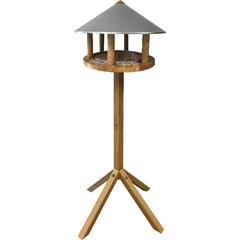 """ESSCHERT DESIGN Budka pro ptáčky """"BEST FOR BIRDS"""" na noze - dub, pozinkovaná střecha"""