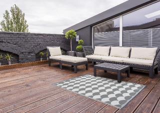 ESSCHERT DESIGN Koberec zahradní, 152x241, šedo/bílý