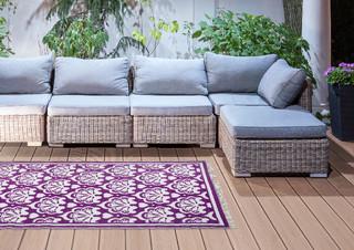 ESSCHERT DESIGN Koberec zahradní, 152x241, fialovo/bílý