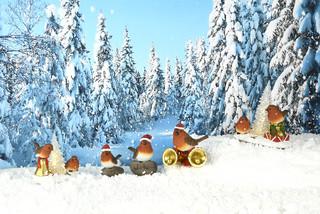 ESSCHERT DESIGN Zvířátka a postavy OUTDOOR Ptáček vánoční na kameni 12cm