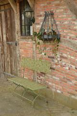 "ESSCHERT DESIGN Lavice skládací ""INDUSTRIAL HERITAGE"", zelená patina, 115 x 53 x 105 cm"