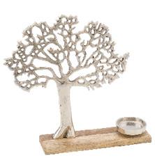 Svícen strom, stříbrná, 39x9,5x42cm