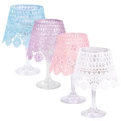ESSCHERT DESIGN Lampa s krajkovým širmem, různé barvy, balení obsahuje 3 kusy!