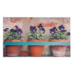 """ESSCHERT DESIGN Podložka pod litinovou rohožku """"BEST FOR BOOTS"""" - Macešky v květináči, hnědá, 75 x 45 cm"""