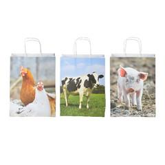 ESSCHERT DESIGN Taška papírová zvířata z farmy malá, balení obsahuje 3 kusy!