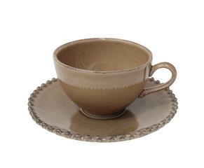 """COSTA NOVA Hrnek na čaj s talířkem 0,25 L, """"PEARL"""", kakaová"""