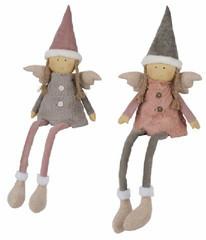 EGO DEKOR Látkový andělíček s čepicí, 12 x 24 x 70 cm, balení obsahuje 2 kusy!