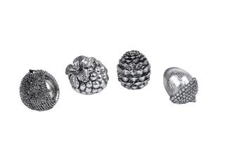 EGO DEKOR Dekorace, stříbrná, M, balení obsahuje 4 kusy!