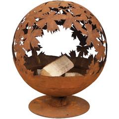 """ESSCHERT DESIGN Ohniště """"FANCY FLAMES"""" , koule vyřezávaná, stínohra s LISTY, rez, 65 cm"""